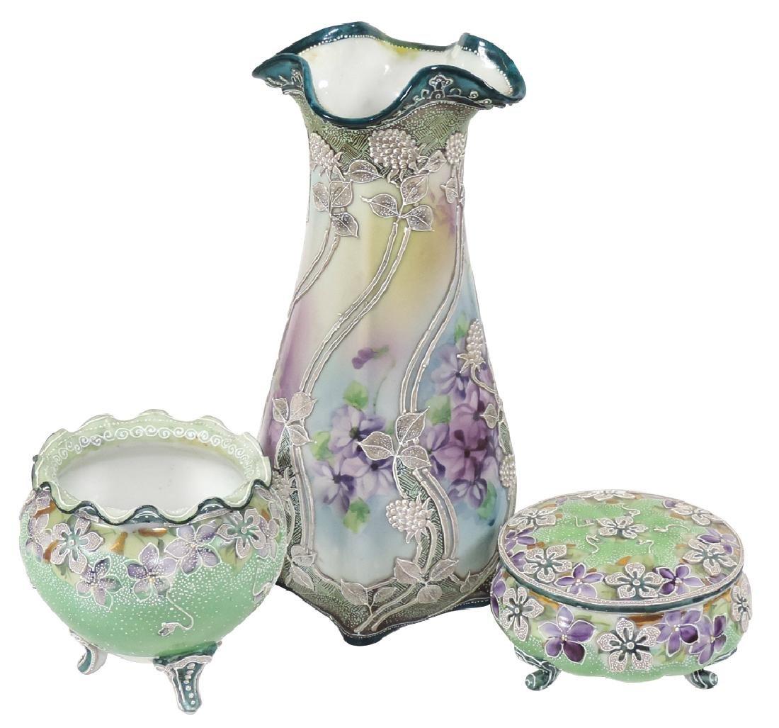 Porcelain (3), Nippon Moriage vase w/ruffled rim &