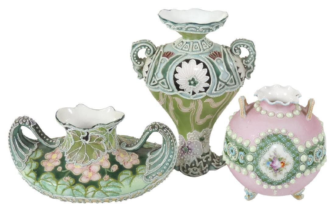 Porcelain (3), Nippon Moriage, vases, hand painted