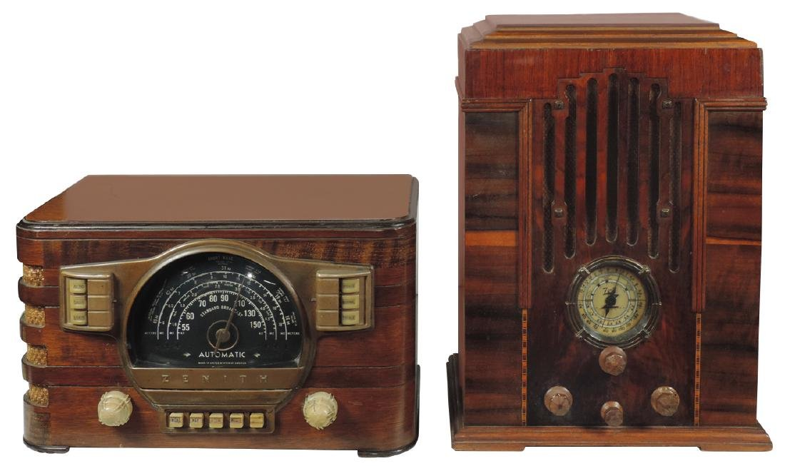 Radios (2) Zenith, Model 808, Art Deco tombstone,