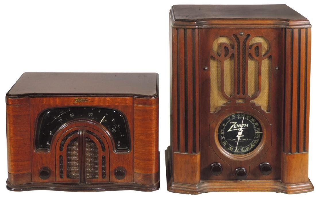 Radios (2), Zenith Long Distance, Model 4-V-31, wood