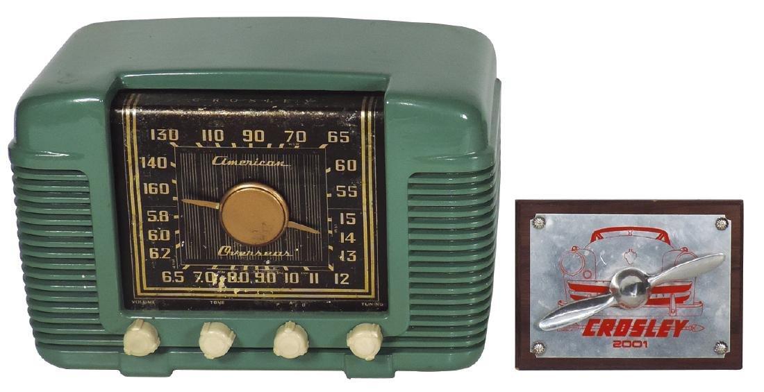 Radio & plaque, Crosley American Overseas, c.1940's,