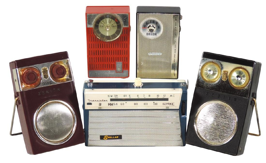 Radios (5), all transistors, Orion High Fidelity,
