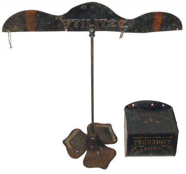 1: Store display rack & 1800's toilet paper receptacle