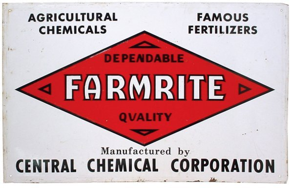 5: Farmerite litho on embossed metal sign, Scioto Signs