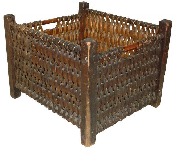 8: Basket from old South Dakota farmstead, woven splint