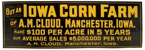 9: Iowa Corn Farm sign, litho on embossed tin, for A.M.