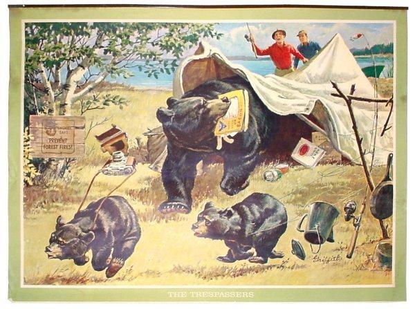 "16: Smokey The Bear sign, ""Trespassers"", litho on paper"