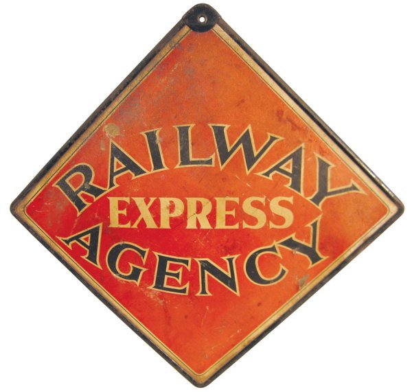 21: Railway Express Agency double-sided sign, thick pap