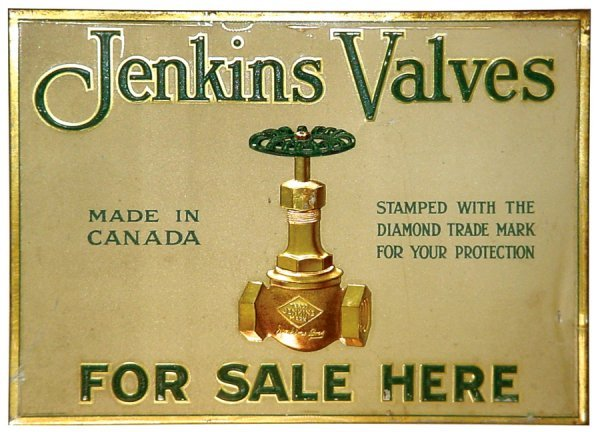 23: Jenkin Valves sign, litho on embossed metal, made i