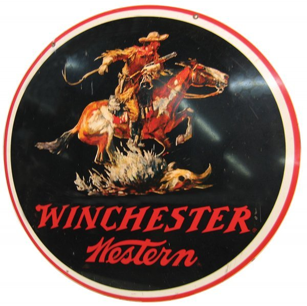 24: Winchester sign, round double-sided metal sign w/gr