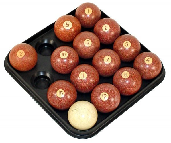 "600: Clay pool balls, partial set of 2.25"" ""speckled ag"