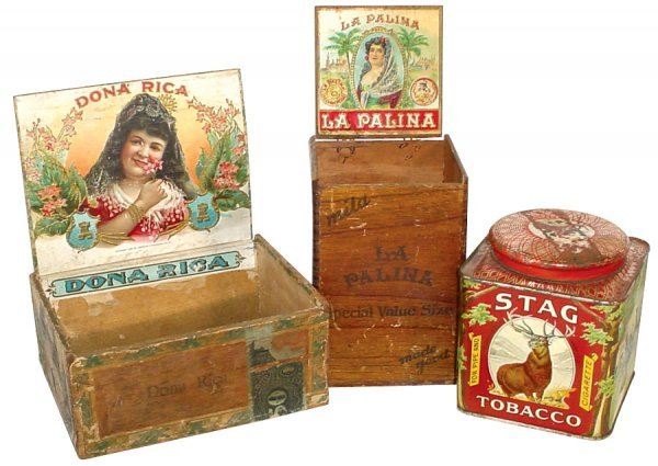 701: Tobacco tin & cigar boxes (3 pcs.), Stag Tobacco t