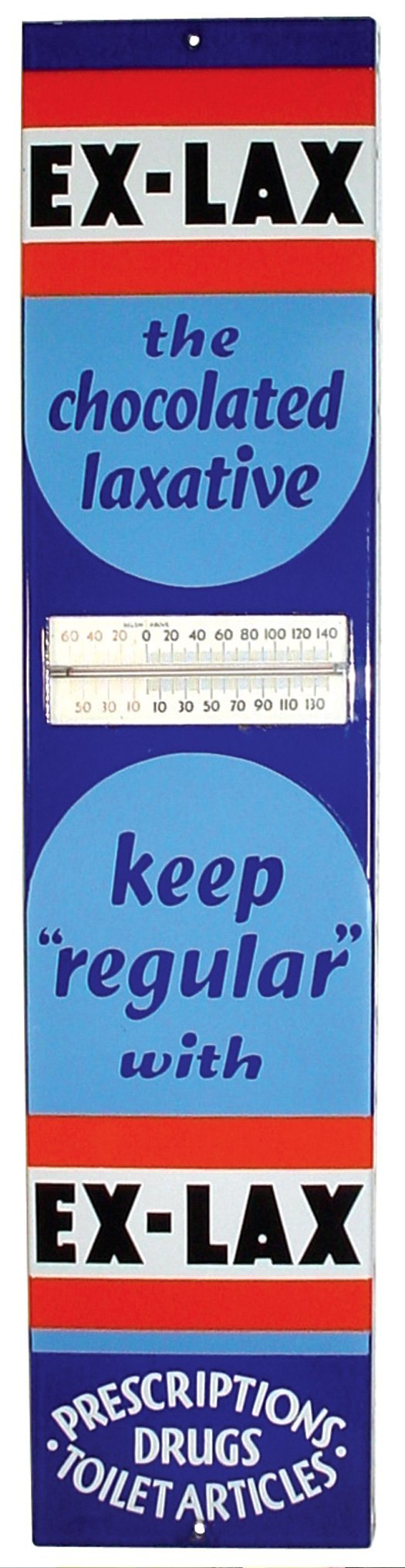 721: Drug store porcelain thermometer for Ex-Lax Laxati