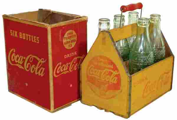 Coca-Cola 6-pack carriers (2), one wood w/wings on