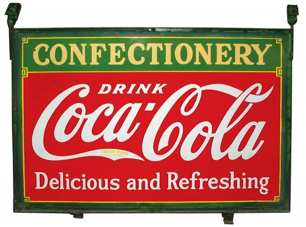 """857: Coca-Cola porcelain """"Confectionery"""" double-sided s"""