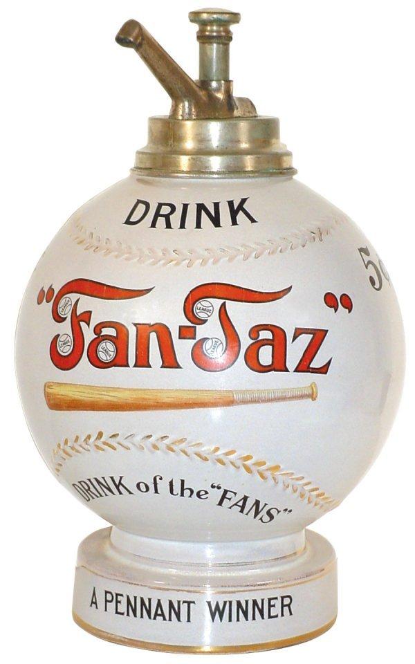 """1068: Soda fountain baseball syrup dispenser, """"Fan-Taz,"""