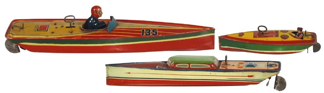 Toy boats (3), Lindstrom tin wind-ups, larger 2 work,