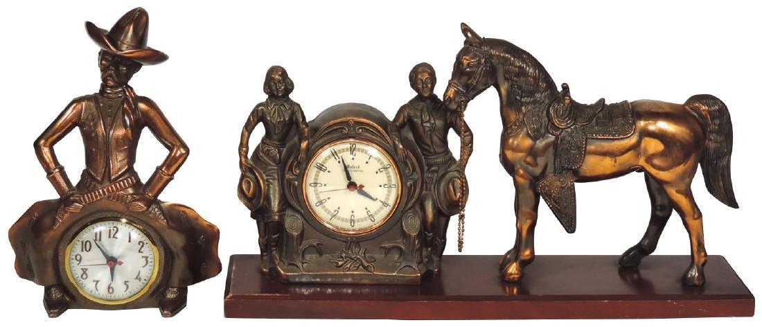 Cowboy mantel clocks (2), bowlegged cowboy marked 1960