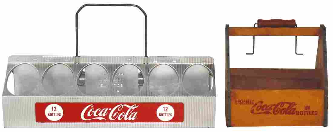 Coca-Cola bottle carriers (2), wood 6-pack carrier &