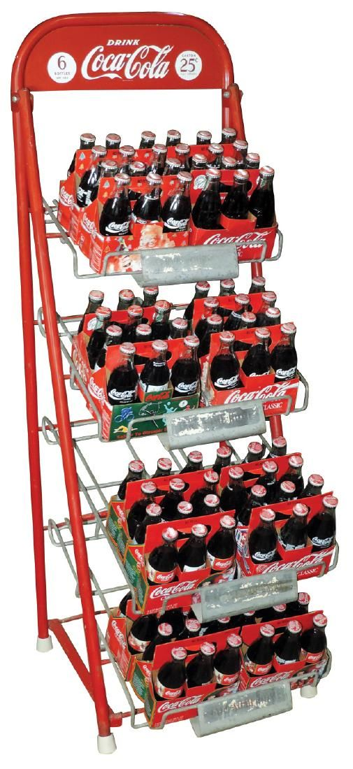 Coca-Cola bottle rack, 4-tier metal, 25 Cent cartons,