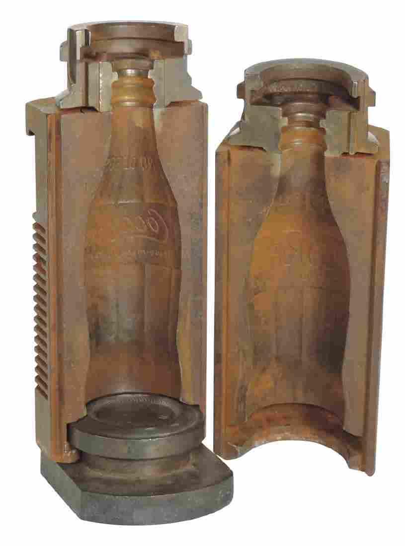 Coca-Cola bottle mold, 3-pc cast iron for 6 oz. bottle,