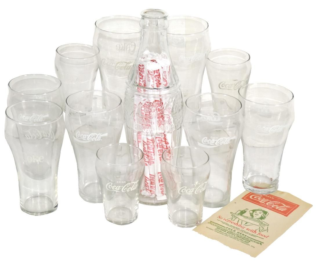 Coca-Cola items (15), glass bottle-shaped straw holder,