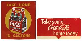 "Coca-Cola signs (2), ""Take Home in Cartons"", pictures"