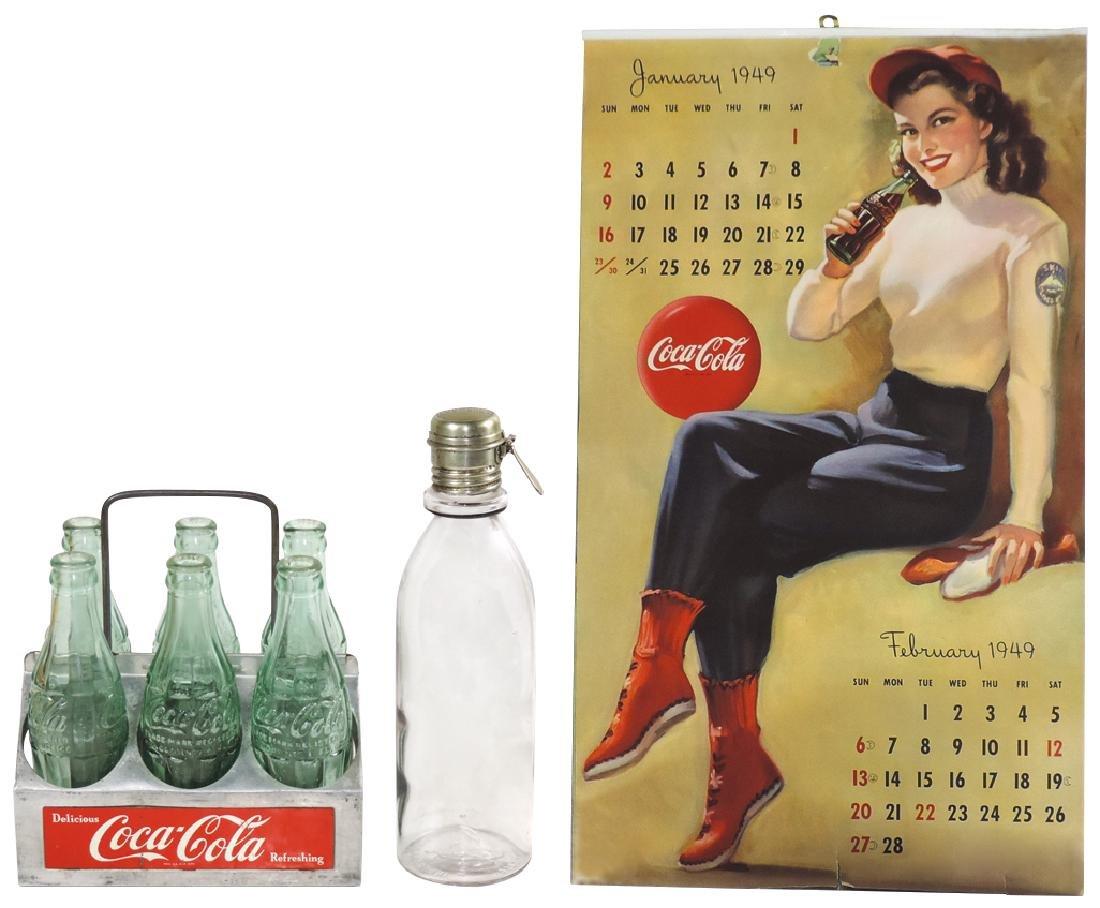 Coca-Cola syrup bottle, calendar & bottle carrier (3),
