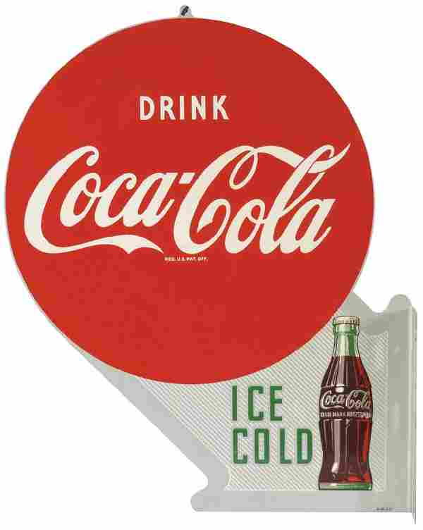 """Coca-Cola sign, """"Drink Coca-Cola Ice Cold"""" double-sided"""