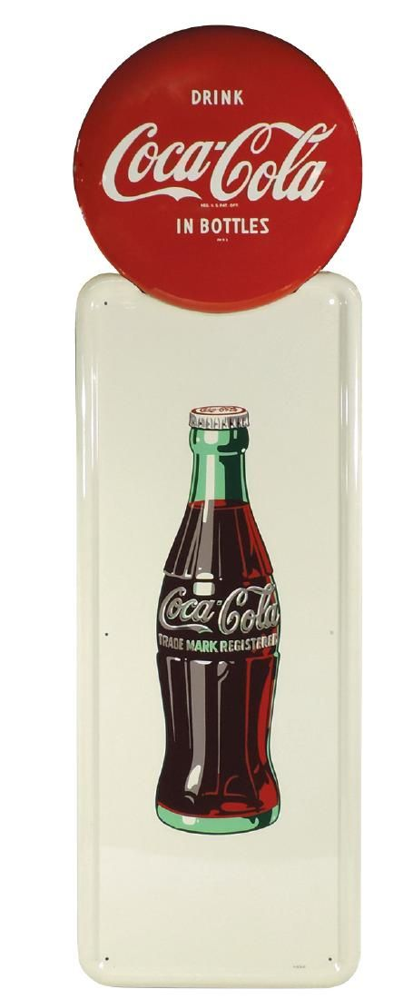 "Coca-Cola sign, ""Drink Coca-Cola in Bottles"" button top"