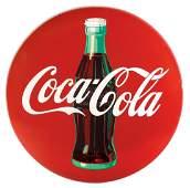 Coca-Cola sign, metal Coca-Cola button w/bottle graphic