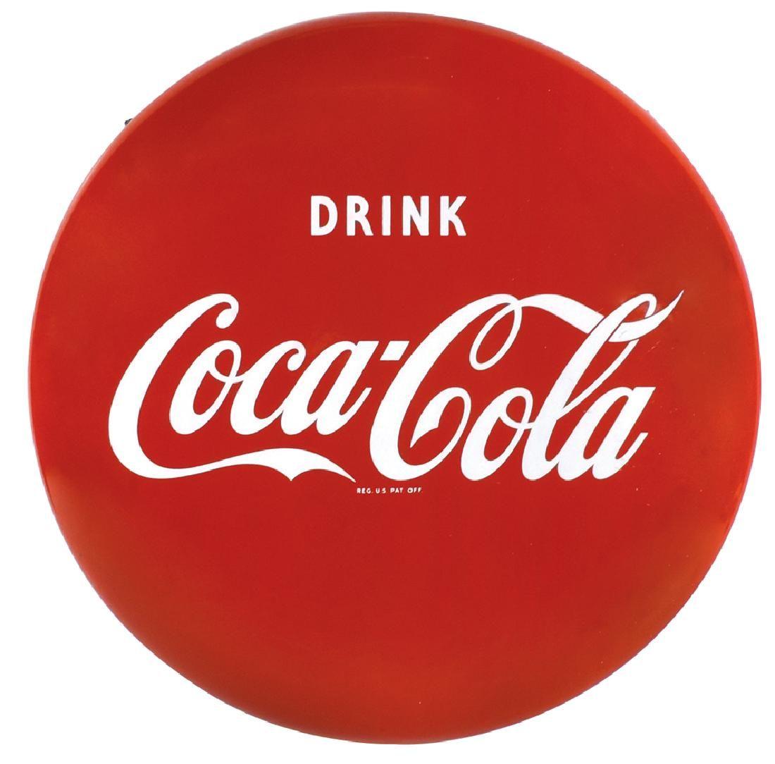 "Coca-Cola sign, ""Drink Coca-Cola"" porcelain button, Exc"