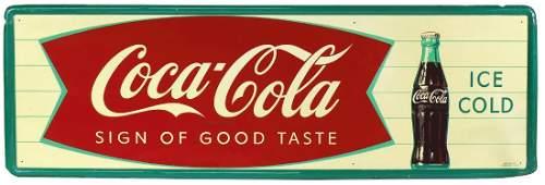 Coca-Cola sign, self-framed metal fishtail w/bottle