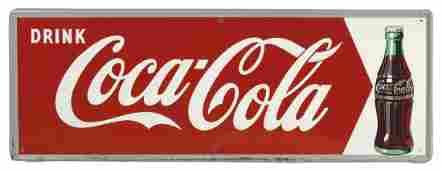 Coca-Cola sign, self-framed metal w/bottle graphic,