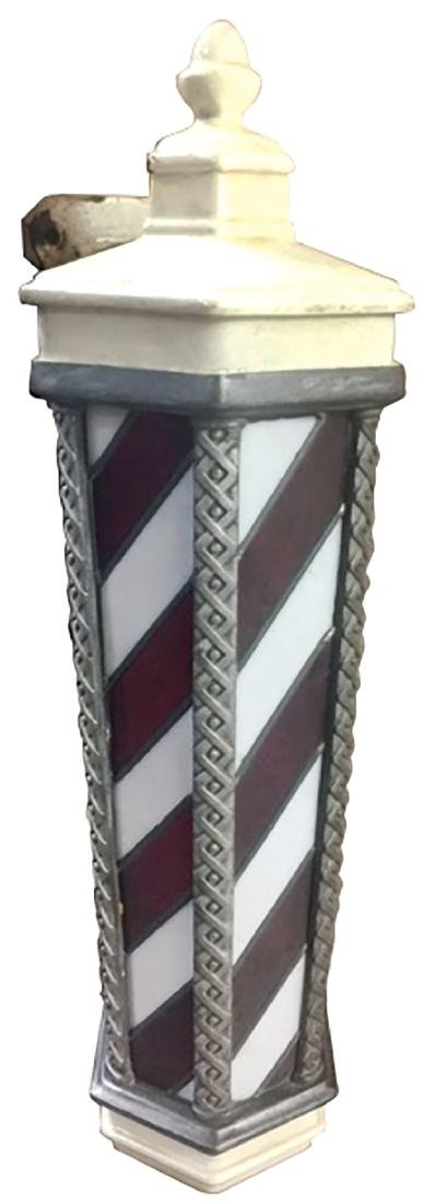 Barber pole, Koken, hanging w/leaded stained glass
