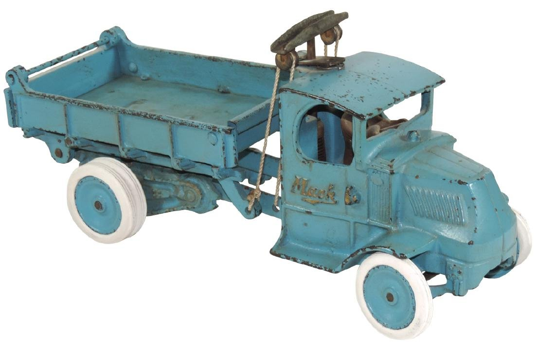 Toy Arcade Mack Dump Truck, cast iron w/orig blue