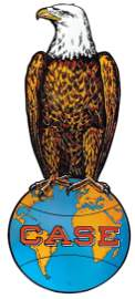 Farm Implement sign, Case Eagle on globe, single-sided
