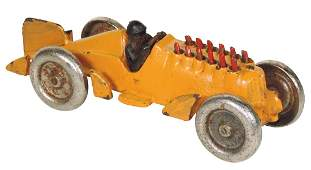 Toy race car, Hubley, cast iron, exhaust pipes go up
