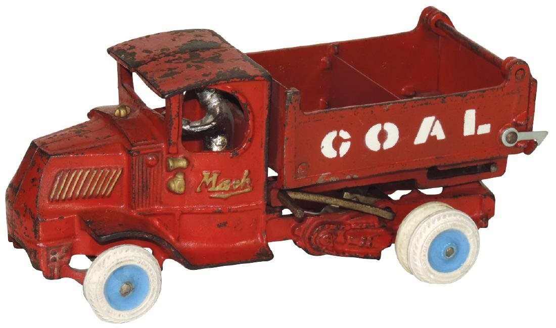 Toy truck, Arcade Mack w/C cab, cast iron w/orig red
