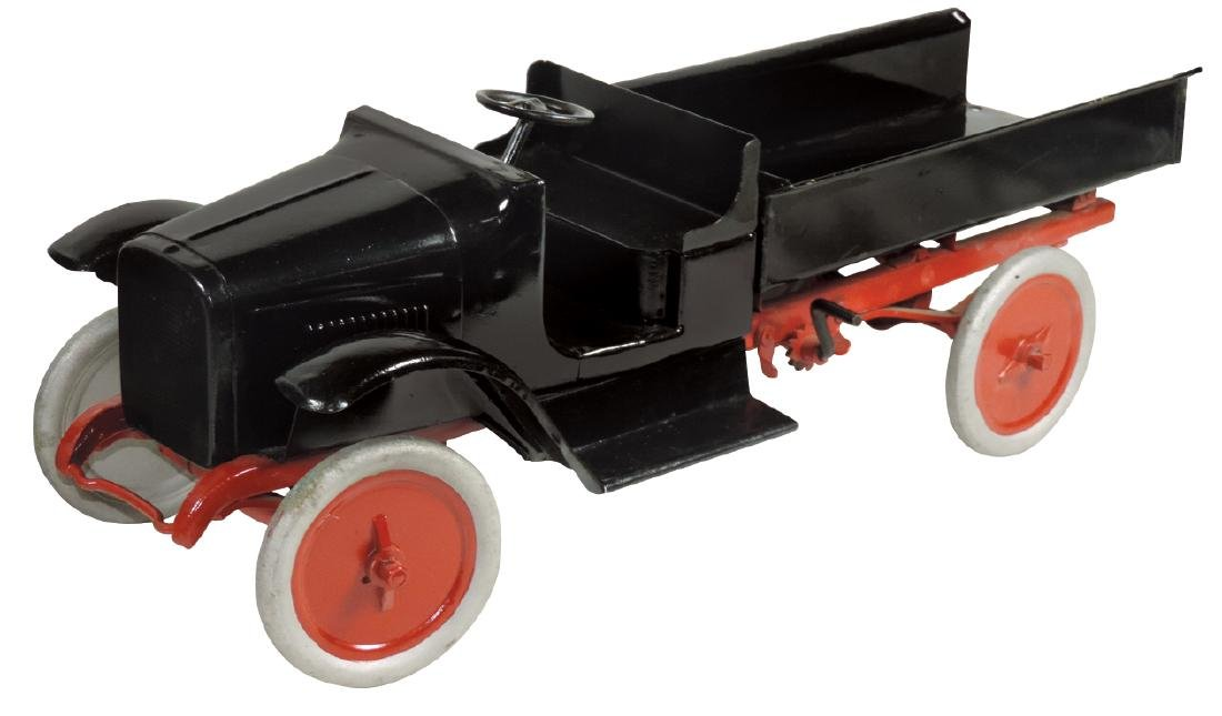 """Toy Buddy """"L"""" Dump Truck, painted pressed steel,"""