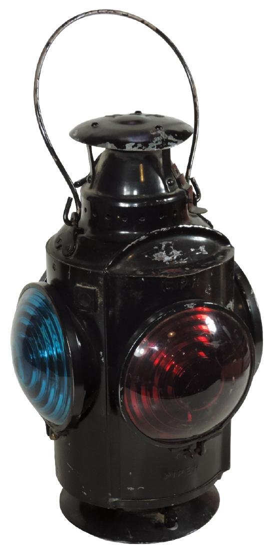 Railroad caboose lantern, embossed HLP CPR Piper,