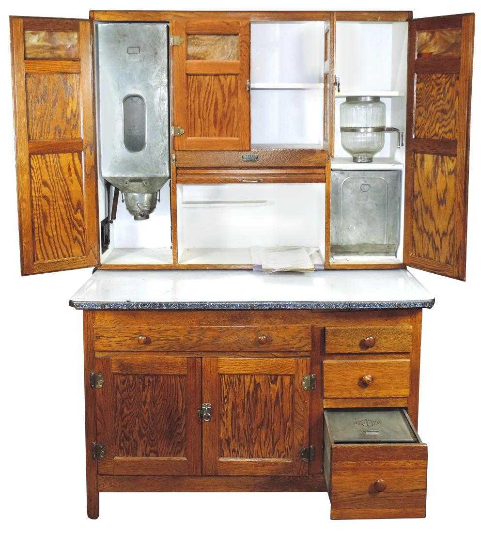 Furniture, Sellers Kitchen Cabinet, oak w/roll lid