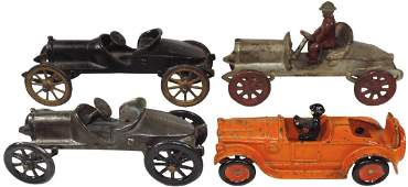 Toys (4), (3) Hubley Roadster Race Cars, painted cast