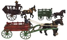 Toy horsedrawn wagons  mule cart 3 all cast iron