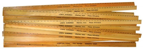 1: Advertising yard sticks (22), Lewis Sundries-Allerto