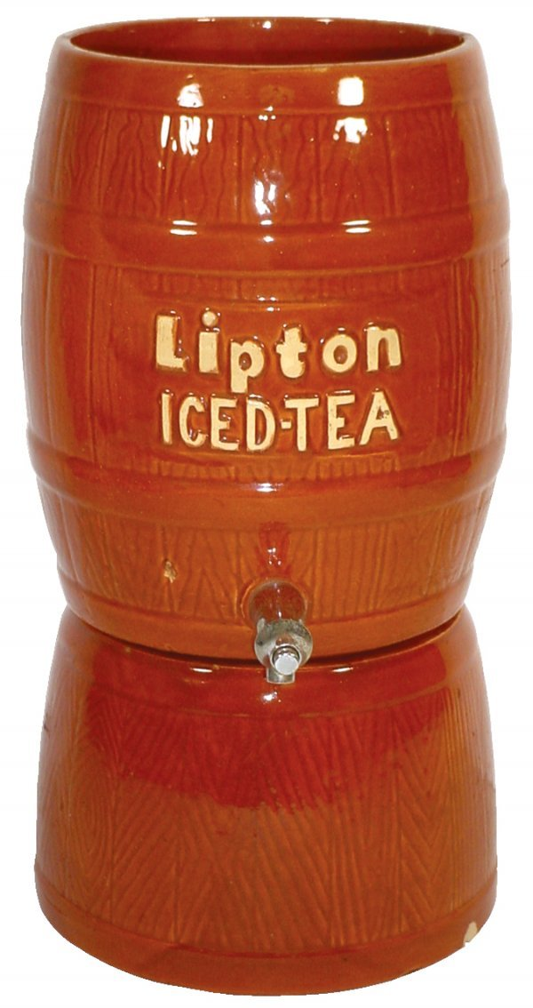 2: Lipton Iced Tea dispenser, stoneware, chip on base &