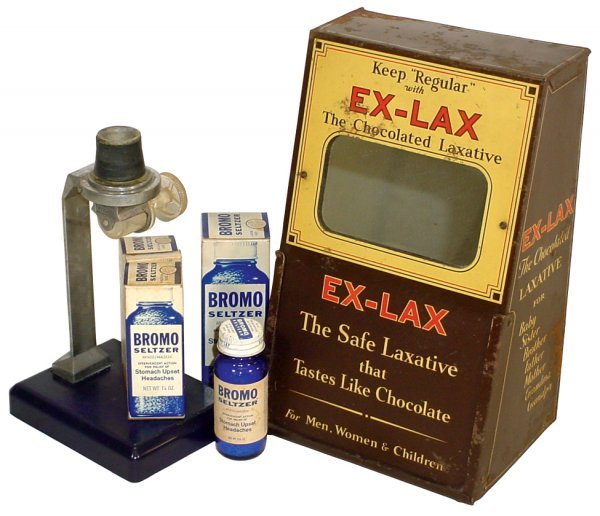 4: Ex-Lax counter display, Bromo Seltzer dispenser & 4