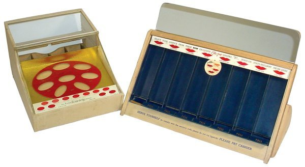 9: Max Factor Lipstick displays (2), both c.1950's, one
