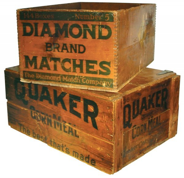 10: Wooden advertising boxes for Quaker Corn Meal & Dia