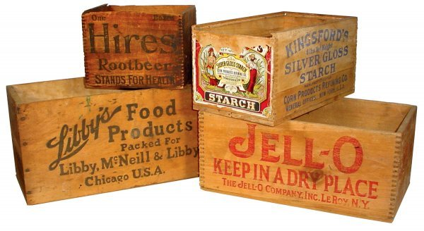 11: Wooden advertising boxes (4), Hires Rootbeer, Jello